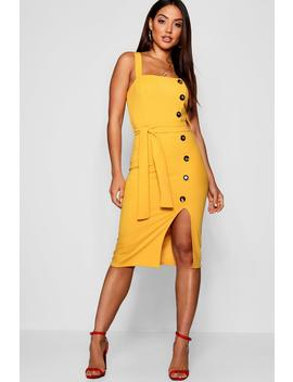Mock Horn Button Split Front Dress by Boohoo