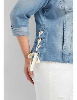 Plus Size Medium Wash Lace Up Denim Jacket by Maurices