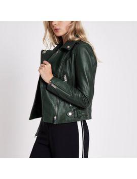 Dark Green Leather Biker Jacket by River Island