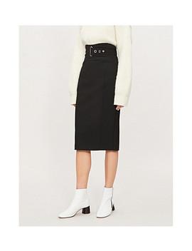 Half Belt Waist Stretch Woven Skirt by Karen Millen