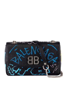 Bb Graffiti Leather Wallet On Chain by Balenciaga