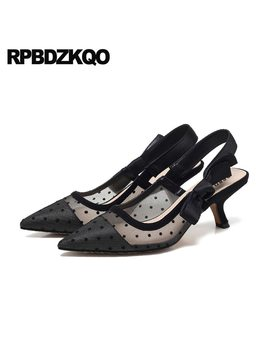Polka Dot Novelty 2018 Mesh Ladies Kitten Heels Shoes Pointed Toe Size 4 34 Pumps Slingback Black Medium Stiletto Bow Sandals by Rpbdzkqo
