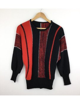 Vintage 80's Batwing Women's Jumper, Size S/M Black And Red Striped Fine Knit Sweater With Silver Metallic Stripes, Ribbed Hem And Sleeves by Etsy