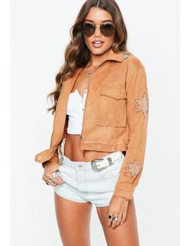 Tan Faux Suede Star Applique Trucker Jacket by Missguided