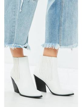 White Curved Heel Western Chelsea Ankle Boots by Missguided