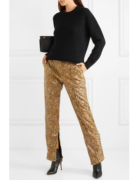 Snake Effect Faux Leather Straight Leg Pants by Hillier Bartley