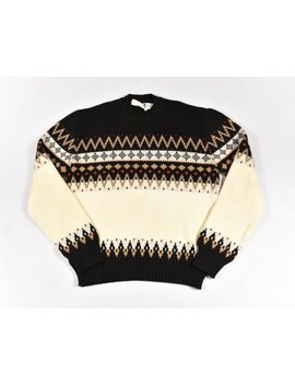 70s Sweater Large Acrylic Brown Ivory Knit Men's Vintage Made In Romania by Etsy