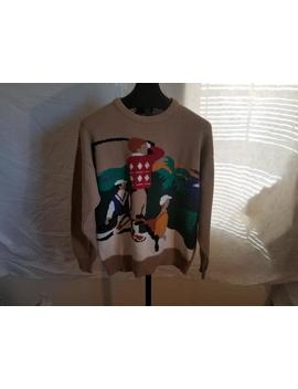Vintage Hathaway Size Large 1980s Hand Intarsia Tan Color Long Sleeve Sweater With Men Playing Golf Stitched In Big Design Golfing Sweater by Etsy