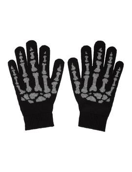Black Cashmere Skeleton Gloves by Saint Laurent