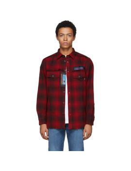 Black & Red S Miller Patch Shirt by Diesel