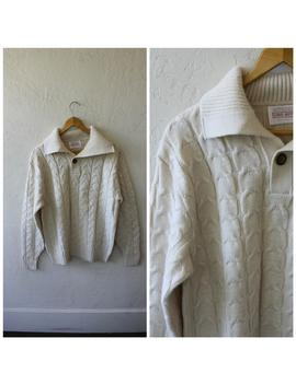 Dads Best Sweater / Mens Vintage Sweater / Grandpas Pullover Sweater / Ivory Cable Knit Sweater / Lord Jeff Sweater / Vintage Pullover L/Xl by Etsy