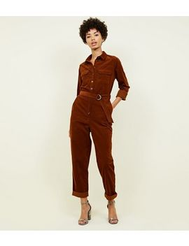 Rust Corduroy Belted Utility Jumpsuit by New Look