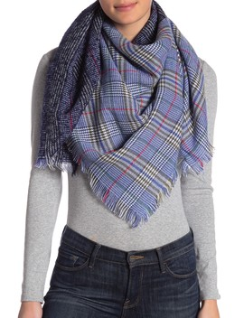 Frayed Mixed Plaid Scarf by 14th & Union