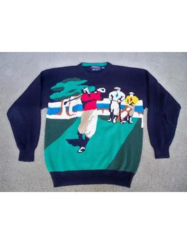 "Vintage Hathaway ""Hand Intarsia"" Golf Scene Print Tee Preppy Crewneck Cotton Men's Sweater Size Medium Made In Hong Kong by Etsy"
