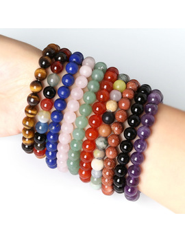 8 Mm Natural Stone Tiger Eye Carnelian Malachite Rose Quanze Round Beads Stretch Bracelets For Women 19cm 1 Pcs by Celadon