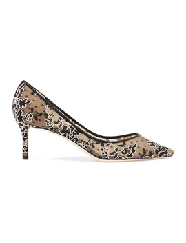 Romy 60 Swiss Dot Tulle And Corded Lace Pumps by Jimmy Choo