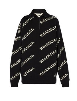 Intarsia Logo Half Zip Sweater by Balenciaga