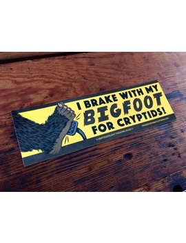 Bigfoot Bumper Sticker   Retro I Brake For Cryptids Cryptozoology Bigfoot Sasquatch Camping Hiking Life Is Good by Etsy