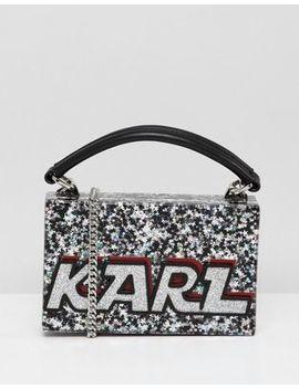 Karl Lagerfeld Logo Glitter Minaudiere Box Bag by Karl Lagerfeld