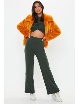 Khaki Ribbed Wide Leg Trousers by Missguided