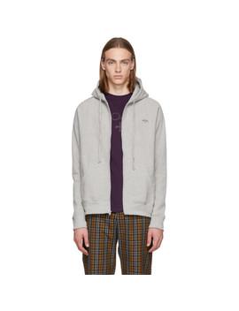 Grey Zip Front Hoodie by Noah Nyc