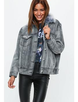 Grey Oversized Ostrich Fur Collar Lined Jacket by Missguided