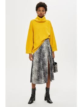 Snake Print Splice Midi Skirt by Topshop