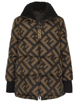 Reversible Wool Blend Trimmed Printed Quilted Down Ski Jacket by Fendi