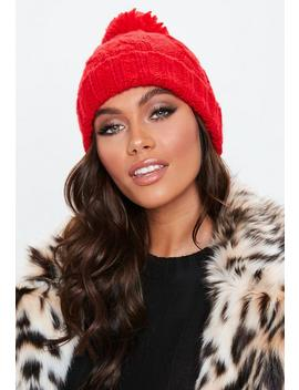Red Cable Knitted Bobble Hat by Missguided