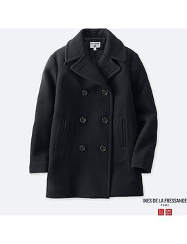 Women Ines Wool Blend Pea Coat by Uniqlo