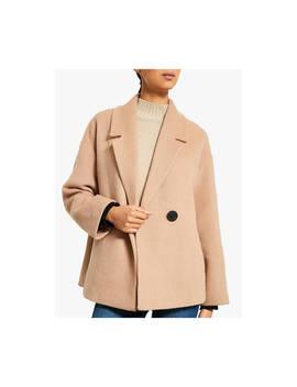 Mint Velvet Cropped Pea Coat, Camel by Mint Velvet