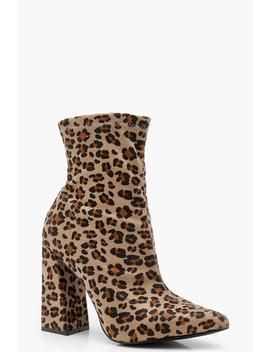 Leopard Print Flared Heel Sock Boots by Boohoo