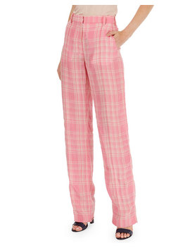 Plaid Flat Front Straight Leg Pants by Victoria Beckham
