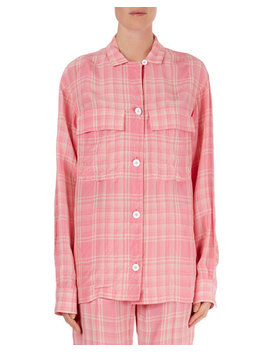 Plaid Oversized Flap Pocket Blouse by Victoria Beckham