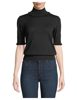 Ruffled Trim Turtleneck Elbow Sleeve Merino Knit Top by Michael Kors Collection