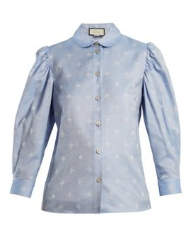 Bee Jacquard Oxford Cotton Shirt by Gucci