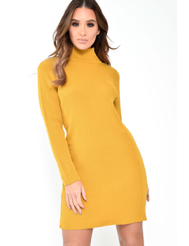 Mustard Rib Bodycon Turtle Neck Mini Dress   Tesia by Rebellious Fashion