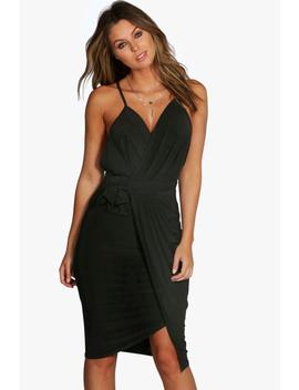 Wrap Over Exposed Side Detail Slinky Midi Dress by Boohoo