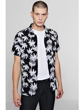 Short Sleeve Palm Print Revere Shirt by Boohoo