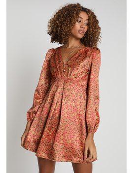 Button Vneck Ditsy Dress   Day Dress by Honey Punch