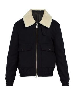 Shearling Collar Wool Blend Jacket by Ami