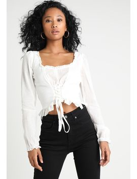 Long Sleeve Milkmaid Lace Up Crop   Blouse by Missguided