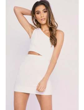 Charlotte Crosby White Ruched One Shoulder Crepe Cut Out Mini Dress by In The Style