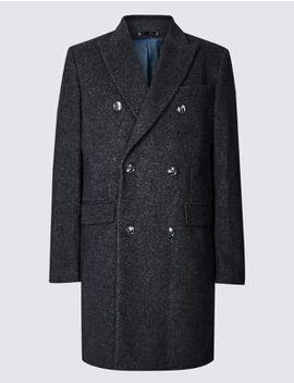 Wool Blend Twill Peak Collar Overcoat by Marks & Spencer