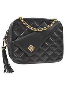 Authentic Givenchy Quilted Fringe Chain Shoulder Bag Black Leather Ak25187 by Givenchy