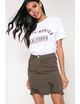 Khaki Denim Distressed Mini Skirt by I Saw It First