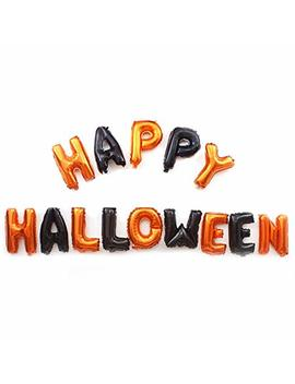 Sunshine D Halloween Party Balloons, 16 Inch Self Inflating Aluminum Foil Balloon Banner Bunting Decoration For Halloween Party Supplies, Orange + Black by Sunshine D
