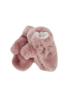 Baker By Ted Baker   Kids' Pink Faux Fur Mittens by Baker By Ted Baker