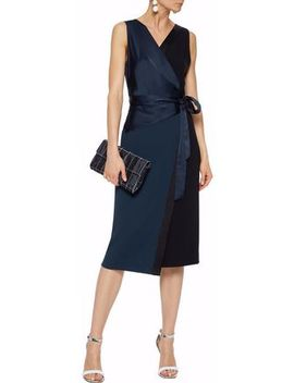 Paneled Satin And Crepe Wrap Dress by Diane Von Furstenberg