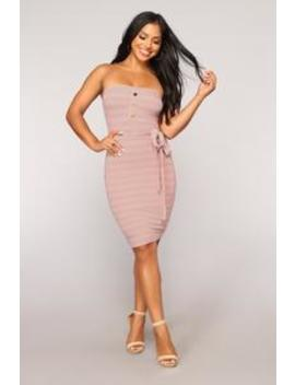 Wonderful Life Stripe Dress   Mauve by Fashion Nova